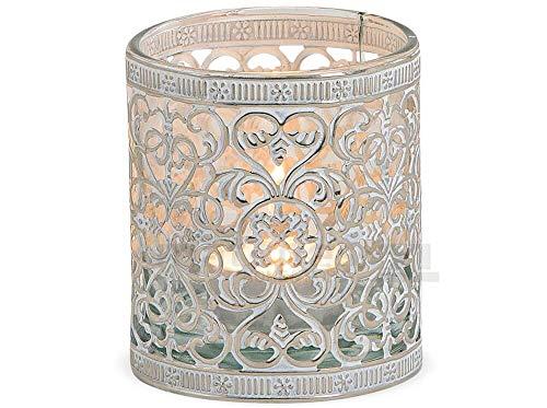 matches21 Kerzenglas mit Metall orientalisches Muster Windlicht Teelichtglas Silber antik - 3 Größen zur Auswahl - 8 cm