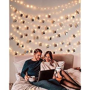 100er Led Lichterkette mit Klammern für Fotos, 10M USB Lichterkette für Zimmer Deko Fotowand Weihnachten, Dekorationslichterkette warmweiß mit 8 Beleuchtungsmodi