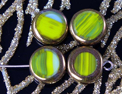 Picasso Oliva Verde Turchese Bronzo ceca di Vetro Tonde e Piatte Moneta Perle Tabella di Taglio Tablet Forma di Boemia 12mm 6pcs