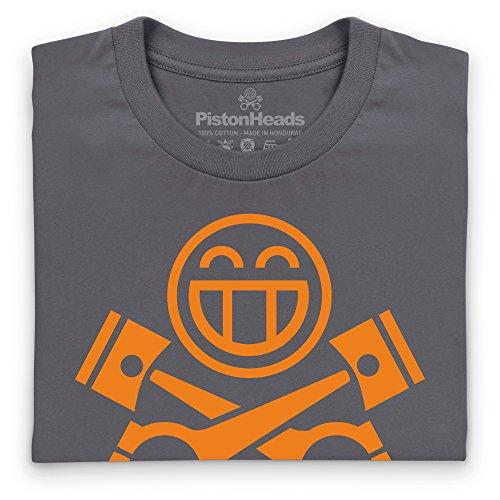 PistonHeads Smiley Orange T-Shirt, Damen Anthrazit