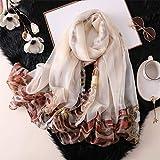ALPNXZ Bufanda Deportiva Dama Bufanda de Las Mujeres Moda Vintage Seda Floral Bufandas Estampado de Leopardo chales y Abrigos