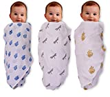 #6: Mom's Home Organic Cotton Baby Muslin Cloth Swaddle - Pack of 3 - Butterfly ,RoyalElephant,turtle - 0-3 Months