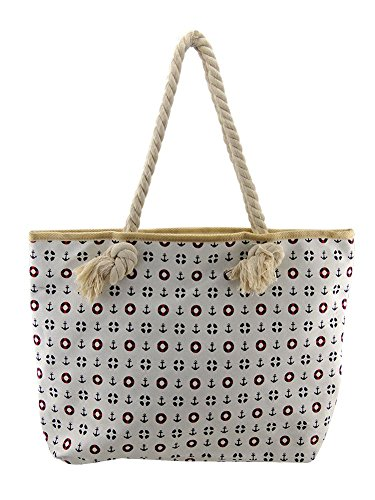 Fat Giraffe, Ladies Rope Handle Canvas Zip Fasten Summer Tote Shopping Beach Bag, Sailor White