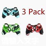 Sudriod 3 Pack Hochwertige Premium Super Grip Glow Schwarz Blau Silikon Schutzhülle Tasche für Sony Playstation PS3 Fernbedienung