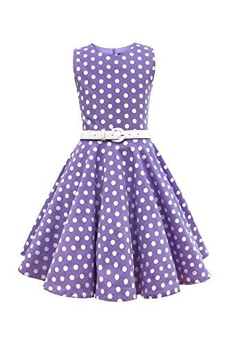 r 'Audrey' Vintage Polka-Dots Kleid im 50er-J-Stil (Lila, 13-14 J / 158-164) (Polka Dot Pinup Kleid)