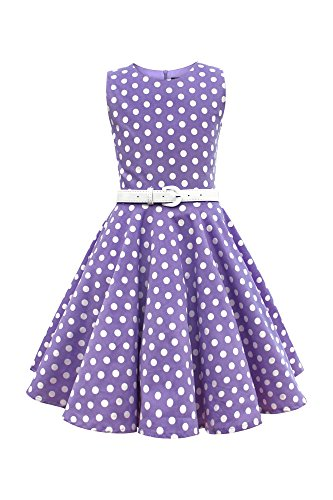 r 'Audrey' Vintage Polka-Dots Kleid im 50er-J-Stil (Lila, 11-12 J / 146-152) (Black Party Kleider Für Mädchen)