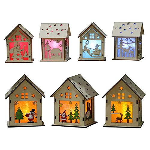 fdghhgjgtkuyiuy New Year New Year Christmas DIY Luminous Cabin Innovative Christmas Snow House with Light Colorful Wooden Cottage Decoration Multicolor