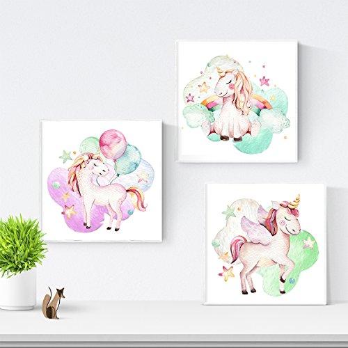 Nacnic Set de 3 láminas para enmarcar, Unicornio. Posters para habitación Infantil. Estilo Acuarela y Tonos Pastel