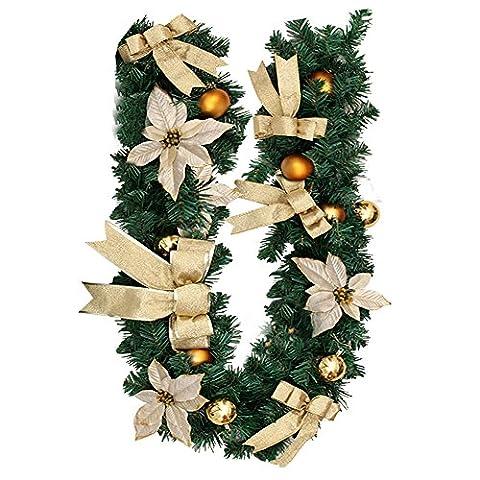 Super Victor Weihnachtsdeko 1.8M Weihnachtsgirlande mit Deko Tannengirlande mit Beeren Blumen bunt Christbaumkuglen Dekoration Weinachten Girlande (Gold)