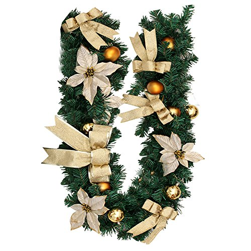 1.8M Weihnachtsgirlande Weihnachtsdeko Tannengirlande mit Beeren Blumen Schleifen Weihnachtskranz Bunt Weinachten Girlande Kranz Treppen Fensterdeko Christbaumkuglen Dekoration Gold