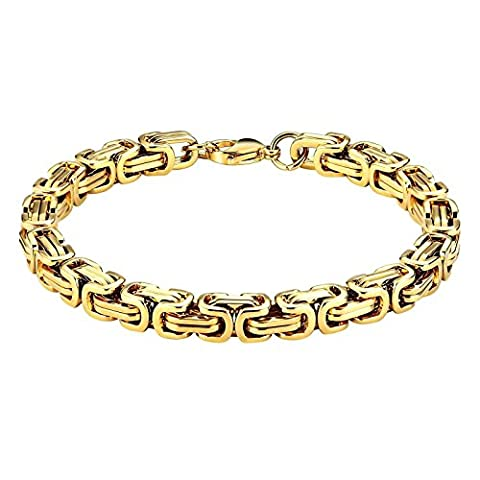 AnazoZ Acier inoxydable Doré poli simple Style byzantin Chaîne à maillons Bracelets pour homme