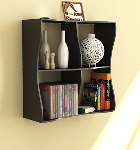 Home Sparkle Wooden Wave Book Shelf (Black)