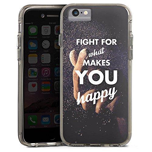 Apple iPhone X Bumper Hülle Bumper Case Glitzer Hülle Happiness Motivation Life Bumper Case transparent grau