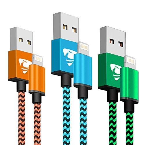 Cargador iPhone Aione [MFi Certificado] Cable iPhone 2M [3 Pack] Trenzado de Nylon Cable USB Compatible con iPhone X 8 8 Plus 7 7 Plus 6s 6s Plus 6 6 Plus (Azul, Verde, Naranja)