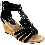 Womens Floral Diamante Low Wedge Heel Open Toe Roman Ankle Strap Sandals