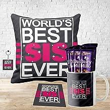 YaYa Cafe™ Birthday Chocolates Gift Combo for Sister, Worlds Best Sister Ever Mug, Coaster, 5 Pcs Dairy Milk Chocolates Gift Combo of Rakhi