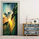 JIAER Riesige Welle In Sunshine Wandmalereien Wandaufkleber Tür Aufkleber Tapete Aufkleber Dekoration