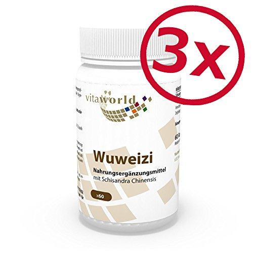 3er Pack Vita World Wuweizi 500mg 180 Kapseln Apotheken Herstellung Schizandra Wu wei zi