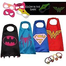 LAEGENDARY Disfraces de Superhéroes para Niños - Regalos de cumpleaños para niños - 4 Capas y Máscaras - Logo Brillante de Wonder Woman - Juguetes para Niñas