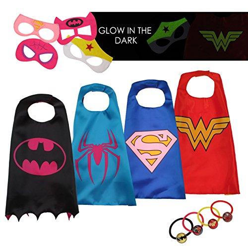 en Kostüme für Kinder - 4 Capes und Masken - Karneval und Geburtstagsfeier Spielzeug - Im Dunkeln Leuchtendes Wonder Woman Logo - Mädchen Spielzeug - Karneval Fasching Costume (Beliebte 2 Jahre Alt Halloween Kostüme)