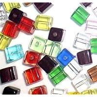 K2-accessories Lot 50pièces 8mm s'accrocher Cube Style valeur Cristal Perles de verre–Mixte–A3093