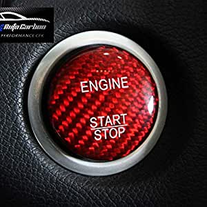 Red Carbon Look Gfk Start Stop Button Cover For Mercedes Benz Amg A45 Cla45 Gla45 C63 C43 C63s E63 S63 Glc Gla Glk Cls Sl Cl Slk Slc Auto