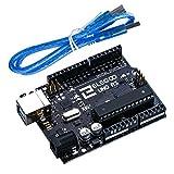 Elegoo ATmega328P ATMEGA16U2 UNO R3 - Placa con cable USB para Arduino