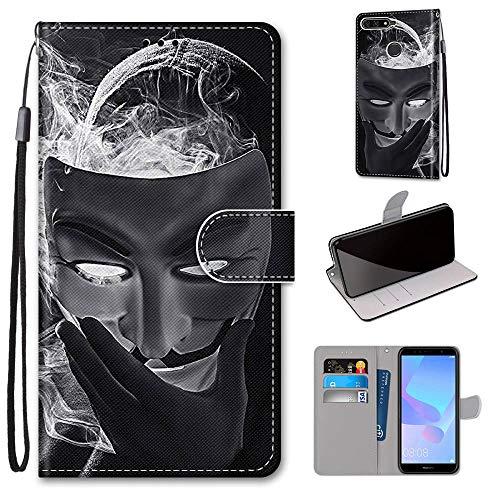 Miagon Flip PU Leder Schutzhülle für Huawei Y7 2018,Bunt Muster Hülle Brieftasche Case Cover Ständer mit Kartenfächer Trageschlaufe,Maske