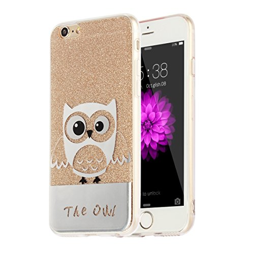 "MOONCASE iPhone 6s Hülle,Bling Glitzer Soft Schutzhülle TPU Silikon Anti-Rutsch Handyhülle Muster Schutz Cover für iPhone 6 / iPhone 6s (4.7"") (Eule - Golden) Eule - Golden"