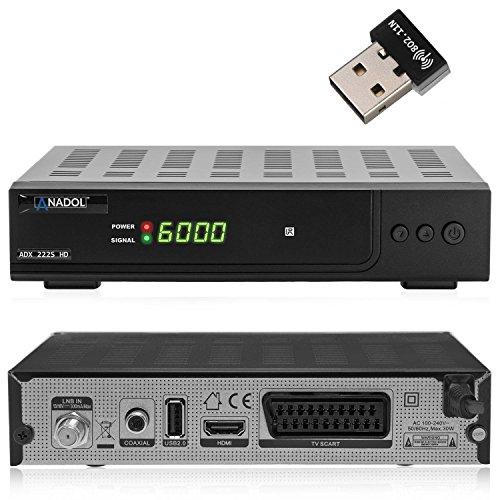 Anadol ADX 222s HD HDTV digitaler Satelliten-Receiver inkl. Wlan Stick (HDTV, DVB-S2, HDMI, SCART, USB 2.0, Full HD 1080p) [vorprogrammiert] - schwarz
