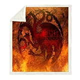 Mantas para Cama Juego De Tronos Manta De Tiro De Impresión De Sangre De Fuego Sofá Espesar Edredón De Vellón Cálido Manta Portátil De Viaje Sherpa (B) 130 * 150cm