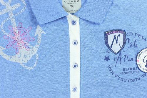 KITARO Woman Poloshirt Damen Kurzarm Shirt Hellblau