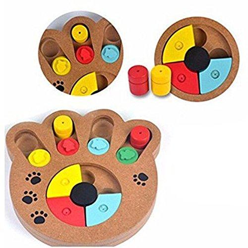 Kuiji Pet Intelligence Toy Interactive Diversión Hide and Seek Alimentos Tratados de Madera Pet Paw Puzzle Juguete para Perros pequeños y Gatos
