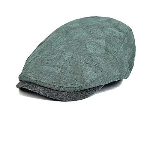 Luck Adulte Femme Homme Casquette Plate Hat Cap Bonnet Flat Tarban Newsboy (Noir) Vert