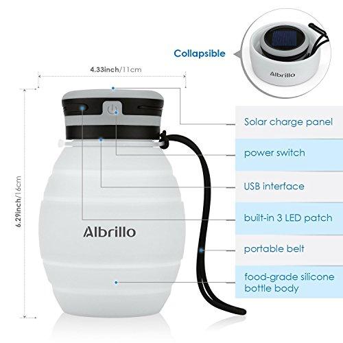 Albrillo LED Campinglampe faltbare Trinkflasche Solarleuchten Led Flasche Solar Flaschen, 3 Lichtmodi und IPX7, Weiß (Weiß) - 3