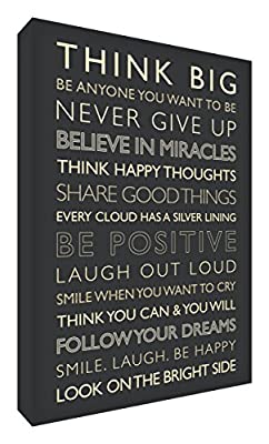 Feel Good Art Gallery Wrapped Box Canvas with Solid Front Panel (30 x 20 x 4 cm, Small, Black and Cream, Be Positive from the Inspiration Collection) - inexpensive UK light shop.