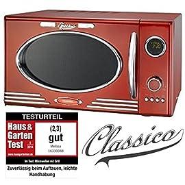 Adexi Melissa 163-30088-Forno a microonde 900W/25litri/Design Forno a microonde con grill/Rosso