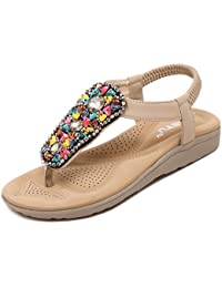 Eólico Nacional sandalias verano gemstone abalorios en Bohemia clip plana toe zapatos de mujer calzado de playa...