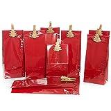 8 kleine Verpackung rot Weihnachten + gold Holzklammern WEIHNACHTSBAUM 7 x 4 x 20,5 cm lebensmittel-echt Geschenke weihnachtlich verpacken - Plätzchen Kekse Pralinen Tüten