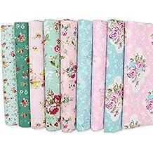 9 Telas costura vintage manualidades costura tapizar scrapbooking patchwork de 20 x 25 cm colores retro de OPEN BUY