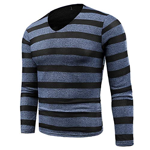 Striped V-neck Pullover (BAICHEN Men es Knit Jumper, Men ' s V-Neck Striped Pullover Sweater Blue,M)