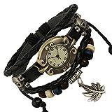 LZHMCircle Leder-Armband-Armband Für Unisex Multi Strang Einstellbare Echten Leder-Armband Stammes- Geflochtenen Seil Niet-Ketten Schädel Anhänger Blatt Beobachtet