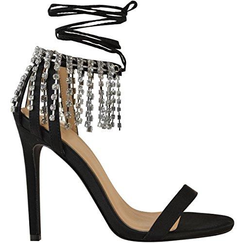 Fashion Thirsty donna festa ballo Strass Luccicante tacchi alti sandali alla caviglia da allacciare Taglia NERO SATINATO