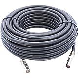 15m Câble d'extension Pour Antenne TV / TNT , Câble Coaxial Noir, Connecteurs Mâle / Mâle Avec Adaptateur Femelle
