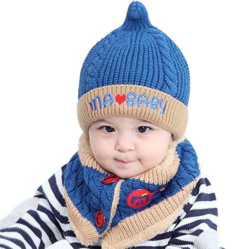 Baby Schal Mützen, Kindermütze, Winter Strickmütze, Niedlich Baby Kinder Winter Warme Haube Schal und mütze Hüte Set Inklusive Kappen und Schal für Baby-Kinder Mädchen-Jungen, 48-52cm,1-4 Jahre (Blue)