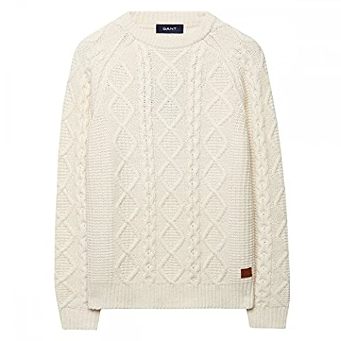 Gant Chunky Cable tricot Pull laine XL Crème