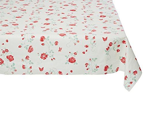 Fleur De Soleil n120erosv Tischdecke QUADRATISCH Beschichtete Baumwolle Grün/Rot/Weiß 120x 120cm