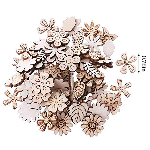 400Pcs Laser Cut Wood Flowers and Leaves Embellishment Wooden Shape Craft, Flower Leaf Shape Wooden Pieces Blank Wood Slices Craft DIY Wedding Party Christmas Decor(Mixed Pattern)