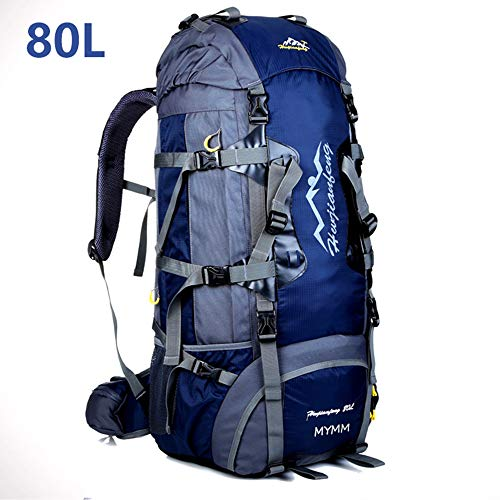 MYMM 80L Sacs de Trekking,Sac à Dos de,idéal pour Le Sport de Plein air,Randonnée,Trekking,Camping Travel,Mountain Climbing.Sac d'alpinisme imperméable,Travel Climbing Daypacks, (80L,80L Bleu foncé)