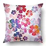 TEPEED Throw Pillow Covers Blue Hawaii Abstract Tropical Colorful Hawaiian Flower Luau Aloha Hibiscus Floral Island Polyester 18 X 18 inch Square Hidden Zipper Decorative Pillowcase